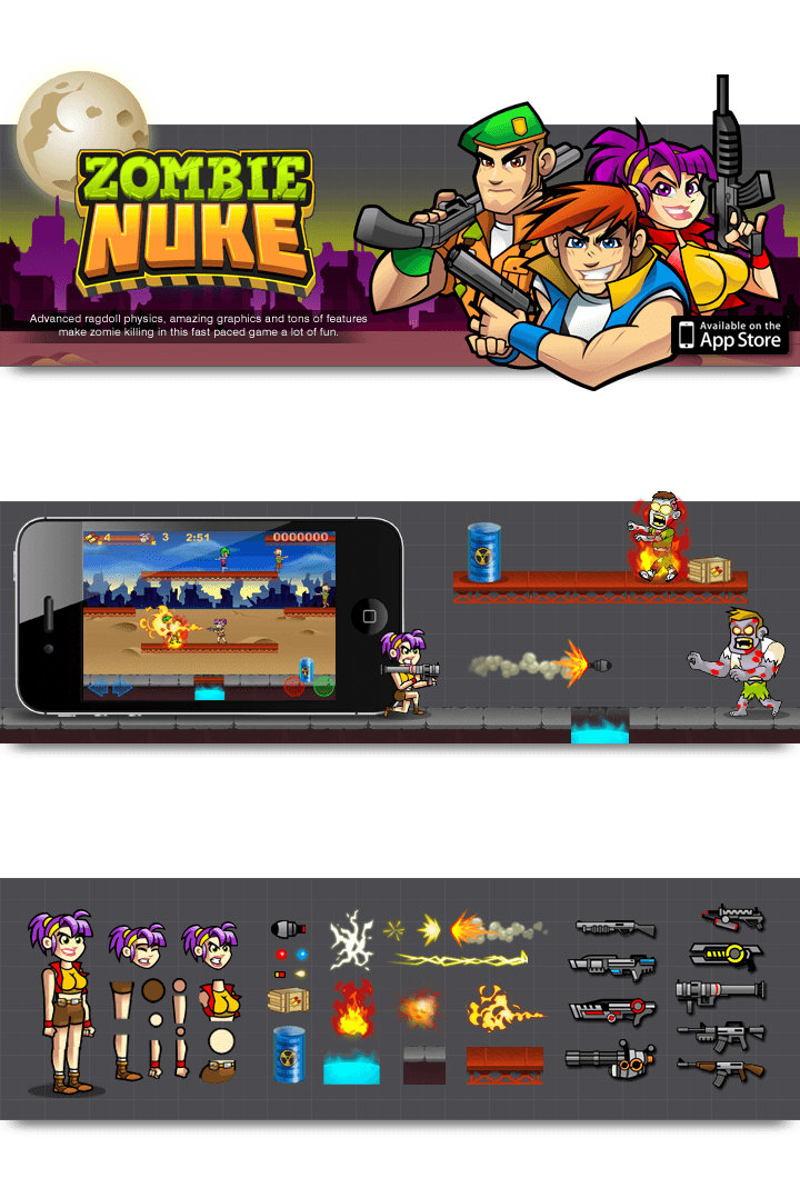 iOS App Game Illustrations for Zombie Nuke by MLJarmin Illustrations